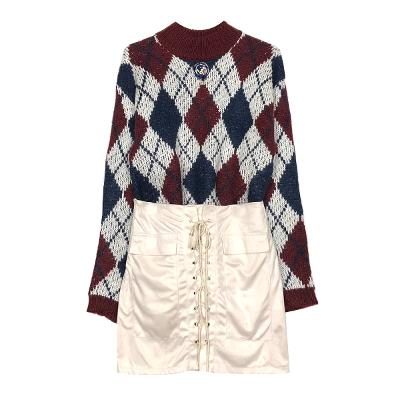 broach argyle knit & eyelet suede skirt